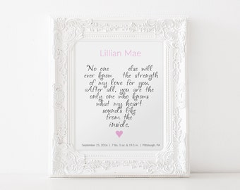 """PERSONALIZED Nursery Wall Art: """"No one else will ever know the strength of my love for you .."""" PRINTABLE ART"""
