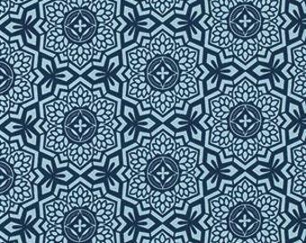 Joel Dewberry Botanique 'Mosaic Bloom' in Deepwater Cotton Fabric
