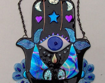 Stained glass Hamsa, Chamsa, Hand of God, Mary, Miriam, Fatima, Wall Hanging, Evil Eye, Amulet, Art, Fused Glass, Dichroic Glass, Original