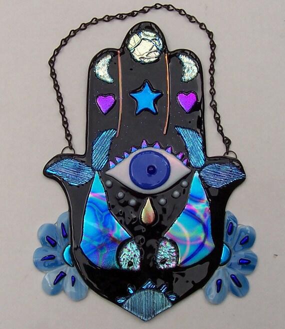 Stained glass Hamsa, Chamsa, Hand of God, Mary, Miriam, Fatima, Wall Hanging, Evil Eye, Amulet, Art, Fused Glass, Dichroic Glass, Original