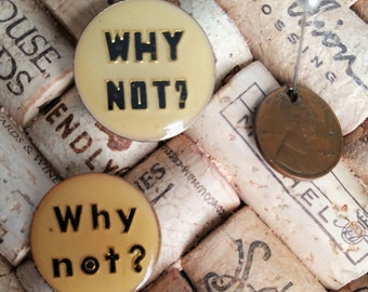 Why Not? Enamel Lapel Pin | Yellow & Black Pin | 1980s Punk