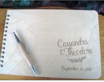 Engraved Guest Book, Custom Wedding Guest Book, Wooden Wedding Guest Book, Cassandra