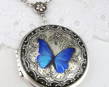 Silver Butterfly Locket. Blue Butterfly Resin Locket. Valentine Gift For Her.Wedding Locket. Picture Locket. Mother's Day Locket
