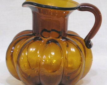 Vintage Amber Melon Ribbed Blown Glass Pitcher with Rough Pontil