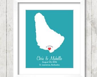 8x10 Barbados Love Map - St Lawrence Gap, Oistins, Barbados - Beach or Destination Wedding - Barbadians - Paper Anniversary - Honeymoon