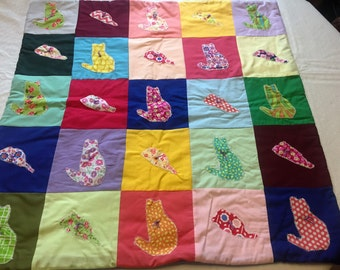 """29""""x29"""" Cat and mouse patchwork Baby Quilt with 100% Cotton Batting and Lavender fleece backing with traditional quilt knots"""