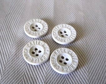 White Vintage Buttons, Set of 4, plastic, 4 holes, sewing buttons, 1990s, Rock creek buttons