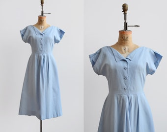 Robins Run Dress / 1950s cotton dress / blue vintage day dress