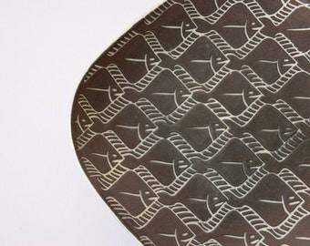 Vintage Danish - big decorative tray - fish motif - E&J keramik - Eva and Johannes Andersen - Danish midcentury