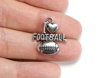6 Antique Silver I Love Football Charms