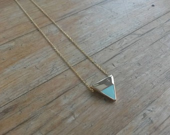 Mint Green Necklace/Enamel Triangle Slider/Geometric/Trendy/Modern/15mm/Mint Jewellery/Green/Enamel Pendant/Pastel/Slider Necklace/Triangle/