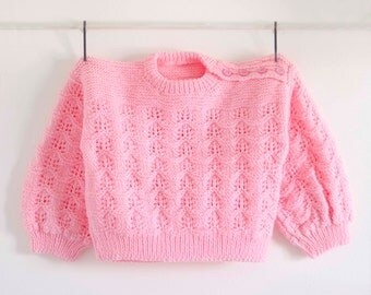 Pink Child Sweater, Slash Neck Sweater, Pink Slash Neck Sweater, Fall Sweater, Hand Knit Sweater,  Hand Knitted Sweater, Pink sweater
