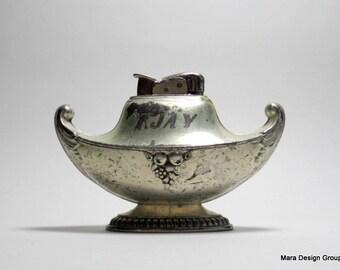 vintage Evans table lighter, silverplate - Aladdins Lamp