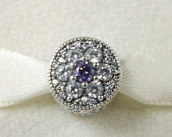 Pandora Sterling Silver Forget Me Not Purple Clear CZ Bead