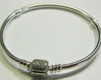 "Pandora Sterling Silver Bracelet with Signature Lock 7.5""  ---  19"