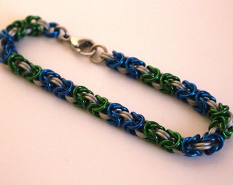 Byzantine Chainmaille Bracelet   Hand Crafted Chainmaille Jewelry   Handmade Bracelet   Green, Blue, and White   Anodized Aluminum