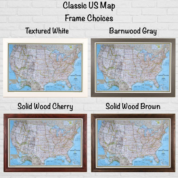 Push Pin United States Map Walnut Frame Navy Pins USA - Us map picture frame