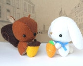 PDF Pattern - Felt Squirrel and Rabbit Plush