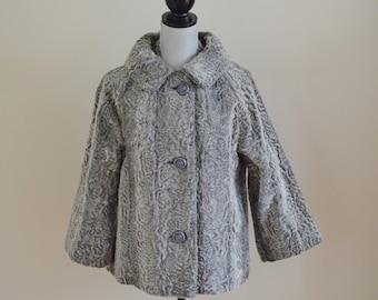 Vintage 60s Silver Grey Faux Fur Jacket, Dynel + Mohair Blend - Bridal, Bridesmaid, Wedding, Formal, Spring Coat, Size Medium, Vintage Bride