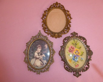 Vintage Italian Renaissance Revival  Brass Picture Frames Lot of Three Mismatched   Circa 1960s