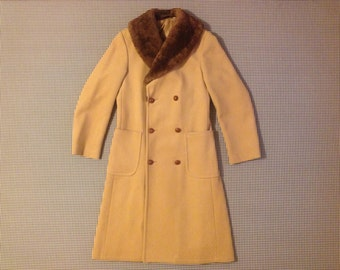 1980's, unisex, double breasted, wool overcoat, with fur collar, by J. Riggings, size 36