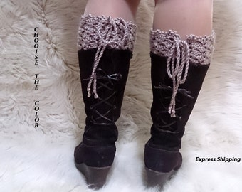 crochet boot cuffs, lace boot cuffs, last minute gift, boot toppers, Lace up boot cuffs, adjustable, wool boot cuffs, girlfriend gift,