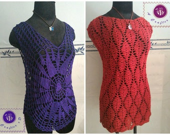 Crocheted lacy tee/ tunic- free worldwide shipping