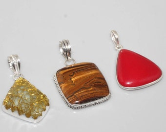 Pretty Copper Rutilated Quartz, Tiger's Eye, & Red Coral Silver Pendant Lot Perfect Gift