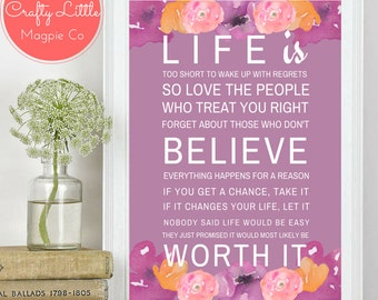Life is.. A4 Inspirational Quote print/typography