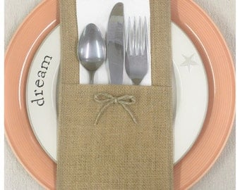 Burlap Silverware caddy holder - qty 6 - Home decor Holiday decorating, Wedding