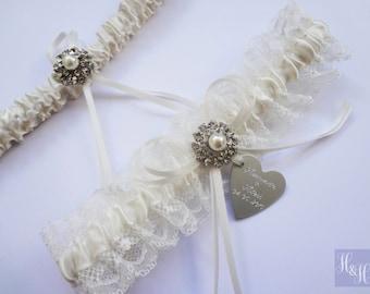 Personalised Elegant Vintage Ivory Wedding Bridal Garter set