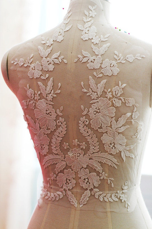 Ivory Wedding Lace Applique Bridal Lace Applique For Wedding