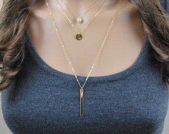 Dainty gold layered necklaces | Layered necklace set, Single-pearl necklace, Initial gold disc pendant necklace, 14k gold layered necklaces