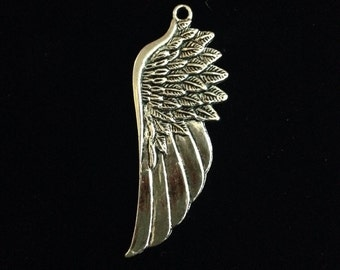 5 Pieces Large angel wing charm, angel wing pendant, Long wing charms, single-sided 58x22mm, antique silver finish 17-22-AS