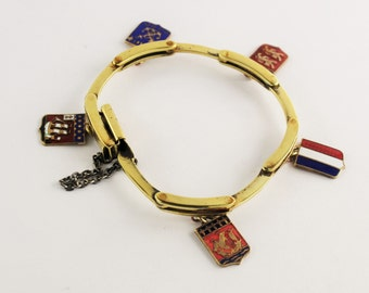 Vintage 1940's French R. Edet Souvenir Bracelet with Enamel