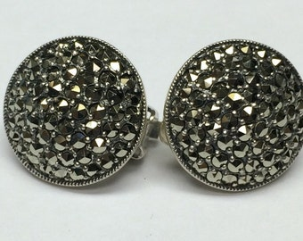 Round Shape Marcasite Sterling Silver Earrings