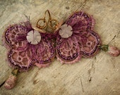Pink Lace Earrings, Bohemian Earrings, Niobium Earwires, Ceramic Droplets, ScorchedEarth, Oxidized Copper Wire, Summer Fantasy.......