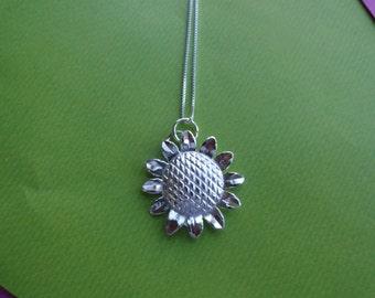 Sunflower sterling silver pendant