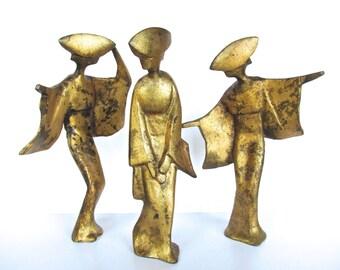 Set Of 3 Large Metal Dancing Geisha Sculptures, Mid Century Golden Japanese Cast Iron Geisha Statues
