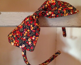 Hair band covered with Liberty fabric  and a large  fabric bow