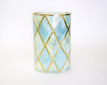 Handmade porcelain vase with 22K gold luster