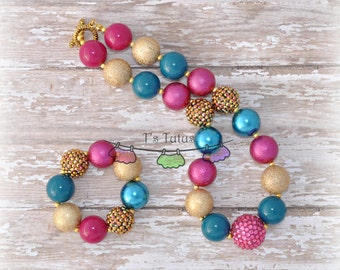 Fall Jewel Tones Children's Necklace and Bracelet Set, Chunky Necklace Chunky Bead Necklace Child Girls Necklace Chunky Bracelet set