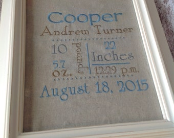 Custom Personalized Embroidered Baby/Birth Announcement for Framing