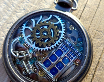 Doctor Who Pendant. Tardis pendant. Doctor Who Pocket Watch Pendant.