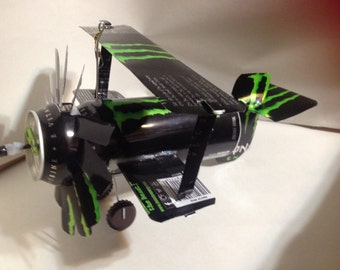 Airplane Whirl-A-Gig Made From Monster Energy Drink Cans
