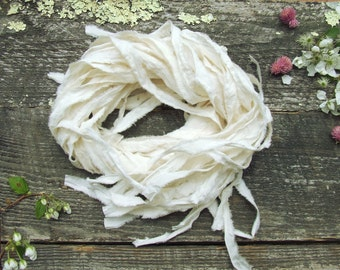 "Ribbon for wedding invitations, cream cotton muslin fabric ribbon, wedding craft supplies, hand torn 1/2"" ribbon, 25 one yard ribbon pieces"