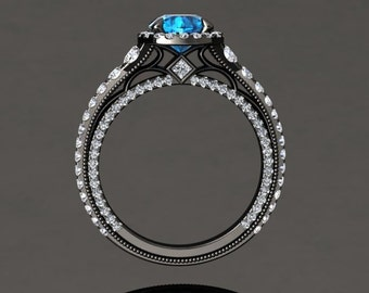 Blue Topaz Halo Engagement Ring Blue Topaz Ring 14k or 18k Black Gold VS2BU2BK