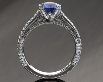 Blue Sapphire Engagement Ring Blue Sapphire Ring 14k or 18k White Gold Matching Wedding Band Available SW9BUW