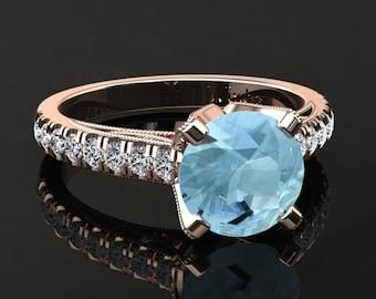 Aquamarine Engagement Ring Aquamarine Ring 14k or 18k Rose Gold Matching Wedding Band Available W4AQUAR