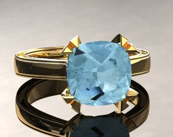 Aquamarine Engagement Ring Cushion Cut Aquamarine Ring 14k or 18k Yellow Gold Matching Wedding Band Available W26SAQUAY